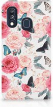 Samsung Galaxy A40 Smart Cover Butterfly Roses