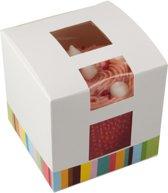 Kleurrijk doosje voor 1 cupcake