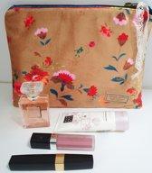 Toetie & Zo Handgemaakte Toilettas Fluweel Bloem Goud, beautycase, makeuptas