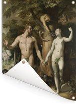 De zondeval - Schilderij van Cornelis Cornelisz van Haarlem Tuinposter 120x160 cm - Tuindoek / Buitencanvas / Schilderijen voor buiten (tuin decoratie) XXL / Groot formaat!