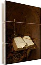 Stilleven met bijbel Vurenhout met planken 30x40 cm - klein - Foto print op Hout (Wanddecoratie)
