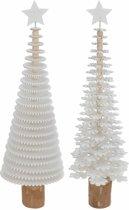 Kerstboom mini 40 cm - wit  - set 2 stuks