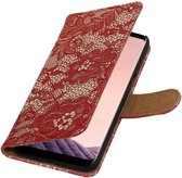 Samsung Galaxy S8 Plus Rood   Lace bookstyle / book case/ wallet case Hoesje    WN™