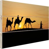 Silhouet van kamelen thar desert India Hout 160x120 cm - Foto print op Hout (Wanddecoratie) XXL / Groot formaat!
