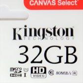 Kingston Micro SD kaart 32 GB + SD Adapter Canvas (HD video- 80MB/S/R) 100% origineel - Class 10