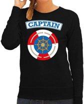 Kapitein/captain verkleed sweater zwart voor dames - maritiem carnaval / feest trui kleding / kostuum 2XL