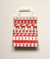 """1 doos van 250 papieren Kersttassen / Kerst draagtassen / Kersttasjes 18x8x22cm """"white elk"""" (Levering in België 1-2 dagen, naar Nederland 2-4 dagen)"""