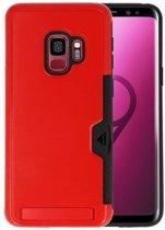 Rood Tough Armor Kaarthouder Stand Hoesje voor Samsung Galaxy S9