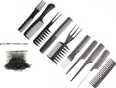 Kamset Kammenset 10 Delig | Haarkam Kammen Set Haarkammen | Kapper Kammenset | Styling Hair Brush Haar Kam