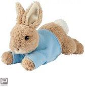 Pieter konijn knuffel liggend, formaat 22 cm., kleur blauw