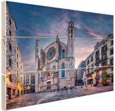 Kerk Santa Maria del Mar in Barcelona Hout 120x80 cm - Foto print op Hout (Wanddecoratie)