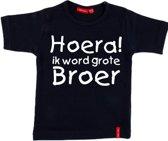 T-shirt korte mouw    Hoera! ik word grote broer  navy   maat 98/104