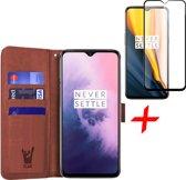 OnePlus 7 Hoesje + Screenprotector Full Screen - Portemonnee Hoesje Book Case - iCall - Bruin