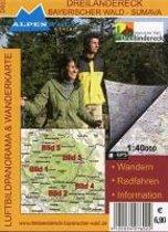 Dreiländereck - Bayerischer Wald - Sumava 1 : 40 000 Luftbildpanorama & Wanderkarte