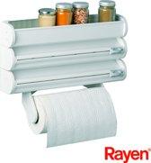 Rayen Rollenhouder - Wit - voor 3 rollen en bovenop een bakje voor kruiden