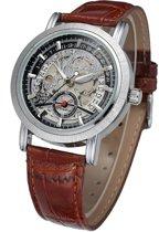WINNER unisex horloge kast: Chroom band: bruin 40mm (productvideo)