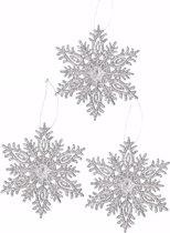 3x Sneeuwvlok kersthanger 10 cm - zilver / glitter - kerstversiering