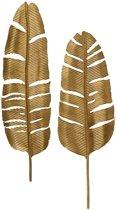 Set van 2 - feathers metaal antique brass