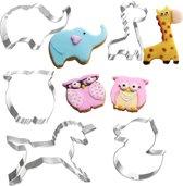 5 Dieren uitsteekvormen met Eenhoorn, Olifant, Uil, Giraffe, Eend - Bak koekjes voor kinderen