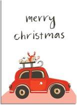 DesignClaud Kerstposter Merry Christmas Rode Auto - Kerstdecoratie Kleurrijk A3 poster (29,7x42 cm)
