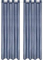 Glasgordijnen geweven gestreept 140x225 cm blauw 2 st