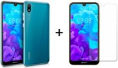Huawei Y5 (2019) Hoesje Transparant - Siliconen Case - 1 x Tempered Glass Screenprotector - LuxeRoyal