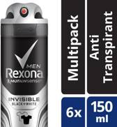 Rexona Invisible Black & White Men - 6 x 150 ml - Deodorant Spray - Voordeelverpakking