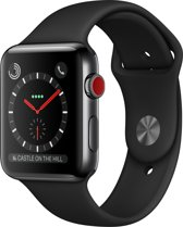 Apple Watch 3 GPS + Cell 42mm space zw. steel case zwarte band