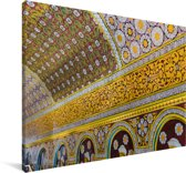 Gedetailleerd plafond bij de Tempel van de Tand in Sri Lanka Canvas 60x40 cm - Foto print op Canvas schilderij (Wanddecoratie woonkamer / slaapkamer)