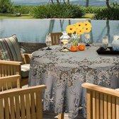 Binnen/buiten tafelkleed/tafellaken lichtgrijs 180 cm rond - Ronde kanten tafelkleden Amira - Tuintafelkleed tafeldecoratie