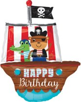 SuperShape HBD Pirate Ship Foil Balloon P35 packed 68 x 86cm
