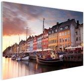 Zonsondergang Nyhavn Glas 120x80 cm - Foto print op Glas (Plexiglas wanddecoratie)