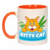 1x Kitty Cat beker / mok - oranje met wit - 300 ml keramiek - katten bekers