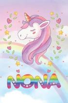 Nona: Nona Unicorn Notebook Rainbow Journal 6x9 Personalized Customized Gift For Someones Surname Or First Name is Nona
