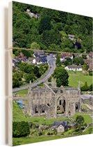 Luchtfoto van de Tintern Abbey in het Verenigd Koninkrijk Vurenhout met planken 60x90 cm - Foto print op Hout (Wanddecoratie)