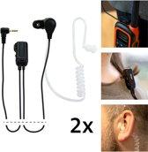 Alecto FRH-10 DUO Headset 2.5mm Plug, 3-polig - Voor gebruik op (PMR-446) portofoons - X2 / Wit