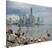 Donkere wolken boven Panama Stad Canvas 180x120 cm - Foto print op Canvas schilderij (Wanddecoratie woonkamer / slaapkamer) XXL / Groot formaat!