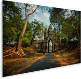 Hoofdingang van het Angkor Wat-complex in Cambodja Plexiglas 180x120 cm - Foto print op Glas (Plexiglas wanddecoratie) XXL / Groot formaat!