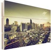 Skyline van de mooie stad Manila Vurenhout met planken 90x60 cm - Foto print op Hout (Wanddecoratie)