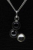 Zilveren Design rond - 3 Onyx, Hematiet en Swarovski edelsteen ketting hanger