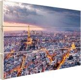Parijs vanuit de lucht Hout 120x80 cm - Foto print op Hout (Wanddecoratie)
