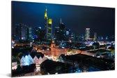 Nachtfoto van de horizon in Frankfurt am Main Aluminium 180x120 cm - Foto print op Aluminium (metaal wanddecoratie) XXL / Groot formaat!