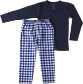 Little Label Jongens Pyjama - blue & white checked flanel & navy blue shirt - Maat 98