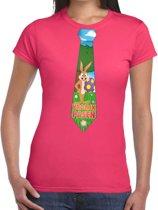 Roze Paas t-shirt met paashaas stropdas - Pasen shirt voor dames - Pasen kleding XL