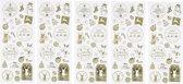 Kerst stickervel met 130 gouden kerstmis stickers