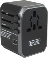 EKEO Universele Wereldstekker met USB-C en 4 USB Poorten - 2000 Watt Internationale Reisstekker voor 200+ landen - Amerika (USA) - Engeland (UK) - Australië - Azië - Zuid Amerika - Afrika – Reis Adapter met Omvormer - Oplader – Zwart + GRATIS TAS