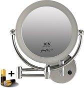 metalen wand knik arm badkamer led spiegel 10x vergroting 22cm doorsnee inculsief 4x aa batterijen