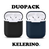 KELERINO. Siliconen hoesje voor Apple Airpods 1 & 2 - Duopack - Zwart / Donker Blauw