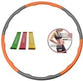 Hoelahoep 1.5 kg + Workout DVD + Mini bands oranje/grijs