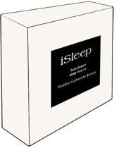 iSleep Dubbel Jersey Hoeslaken - Litsjumeaux XXL - 210x220/230 cm - Wit